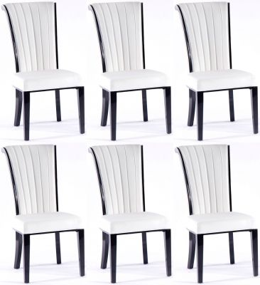 6 x Urban Deco Cadiz White Faux Leather Dining Chair