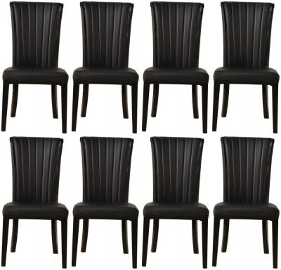 8 x Urban Deco Cadiz Black Faux Leather Dining Chair
