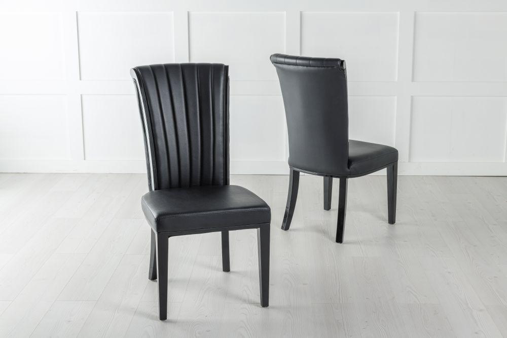 Cadiz Black Faux Leather Dining Chair