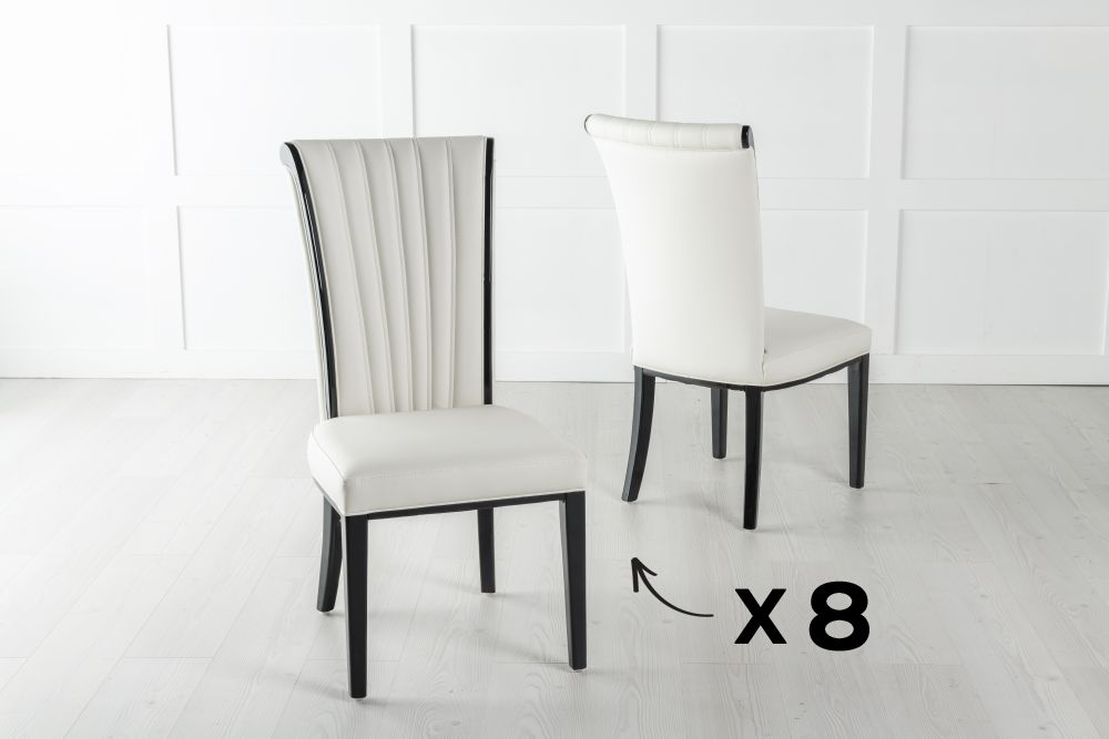 Set of 8 Cadiz White Faux Leather Dining Chair