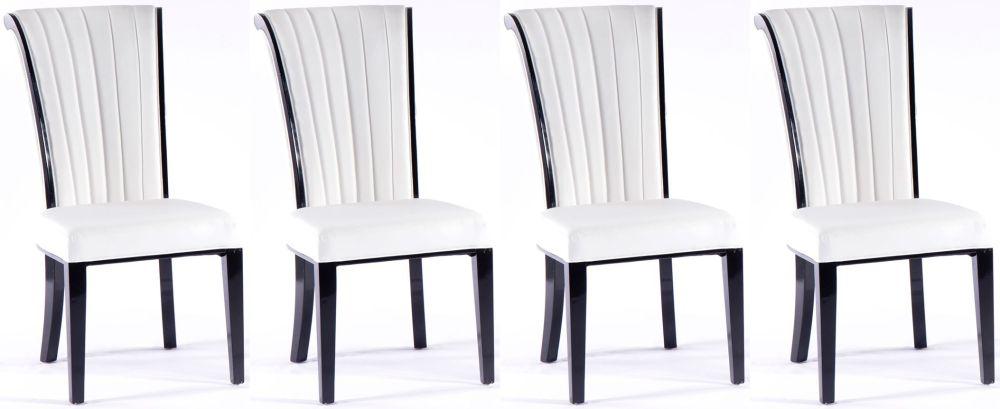 4 x Urban Deco Cadiz White Faux Leather Dining Chair