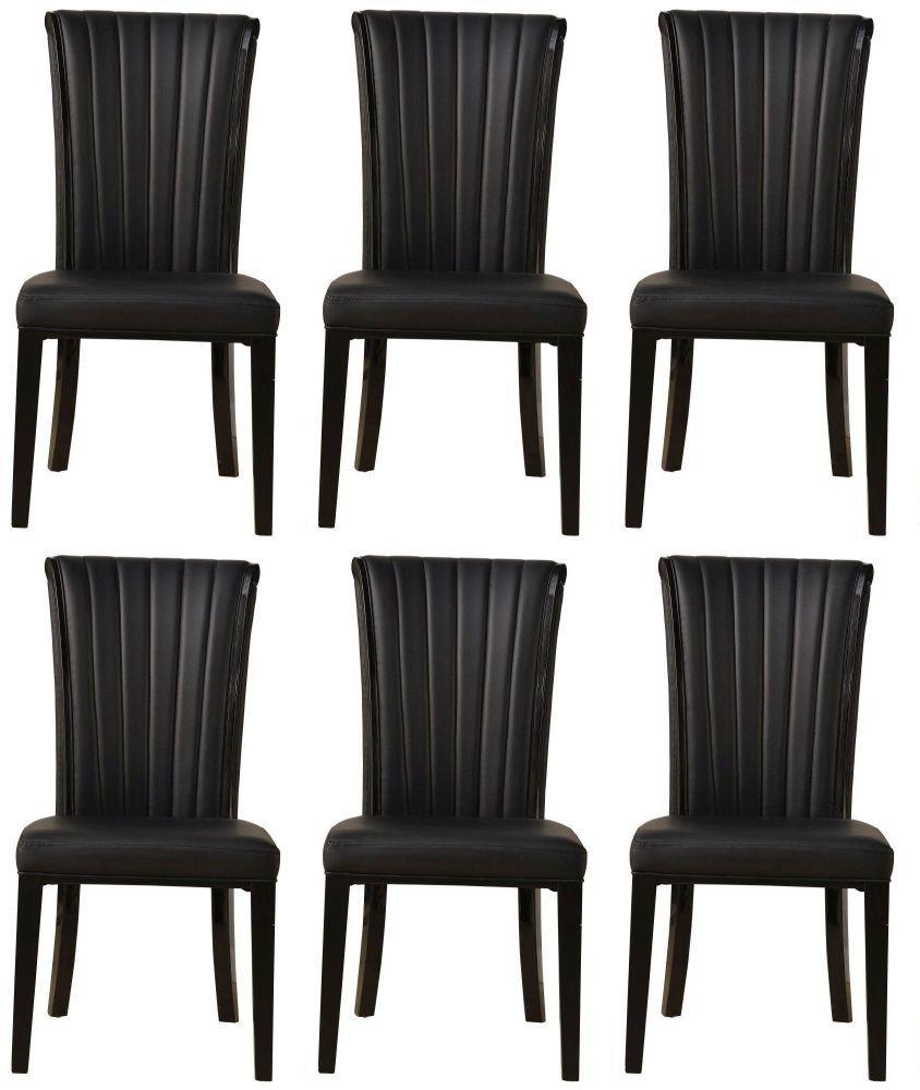 6 x Urban Deco Cadiz Black Faux Leather Dining Chair