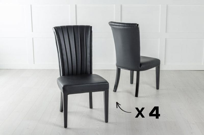 Set of 4 Cadiz Black Faux Leather Dining Chair