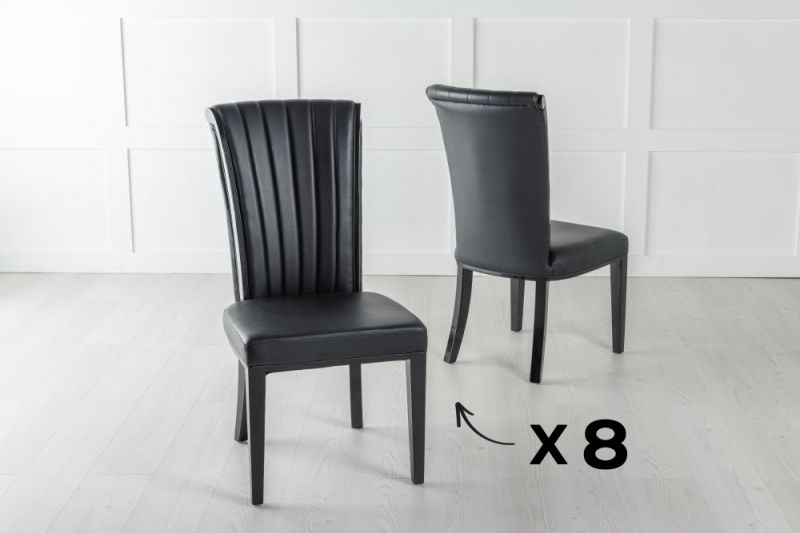 Set of 8 Cadiz Black Faux Leather Dining Chair