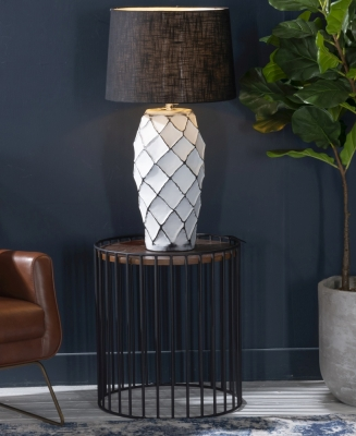 Cage Wood and Metal Round Side Table