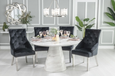 Urban Deco Carrera 130cm White Marble Dining Table and 4 Black Knockerback Chrome Leg Chairs