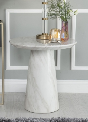 Urban Deco Carrera White Marble Lamp Table