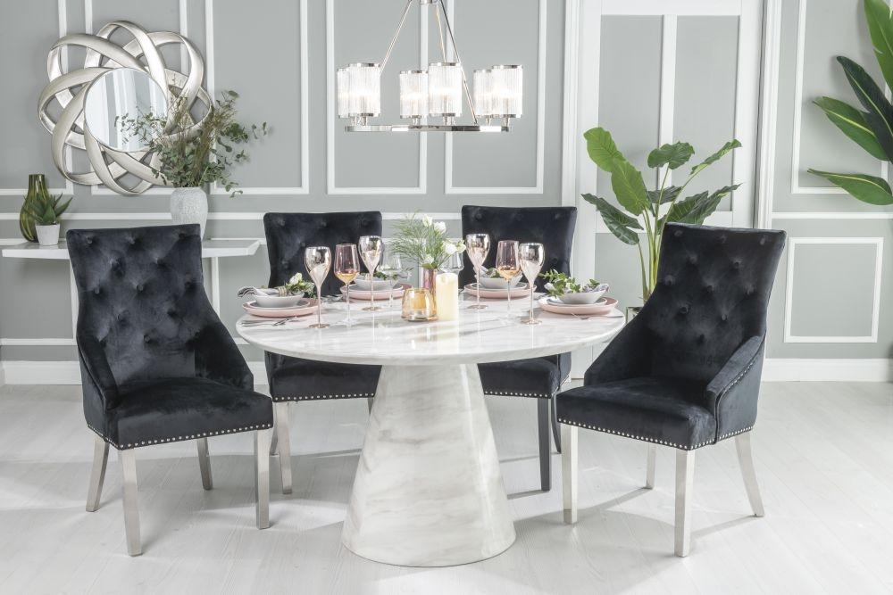 Urban Deco Carrera 130cm White Marble Dining Table and 4 Black Knockerback Chrome Leg Chairs