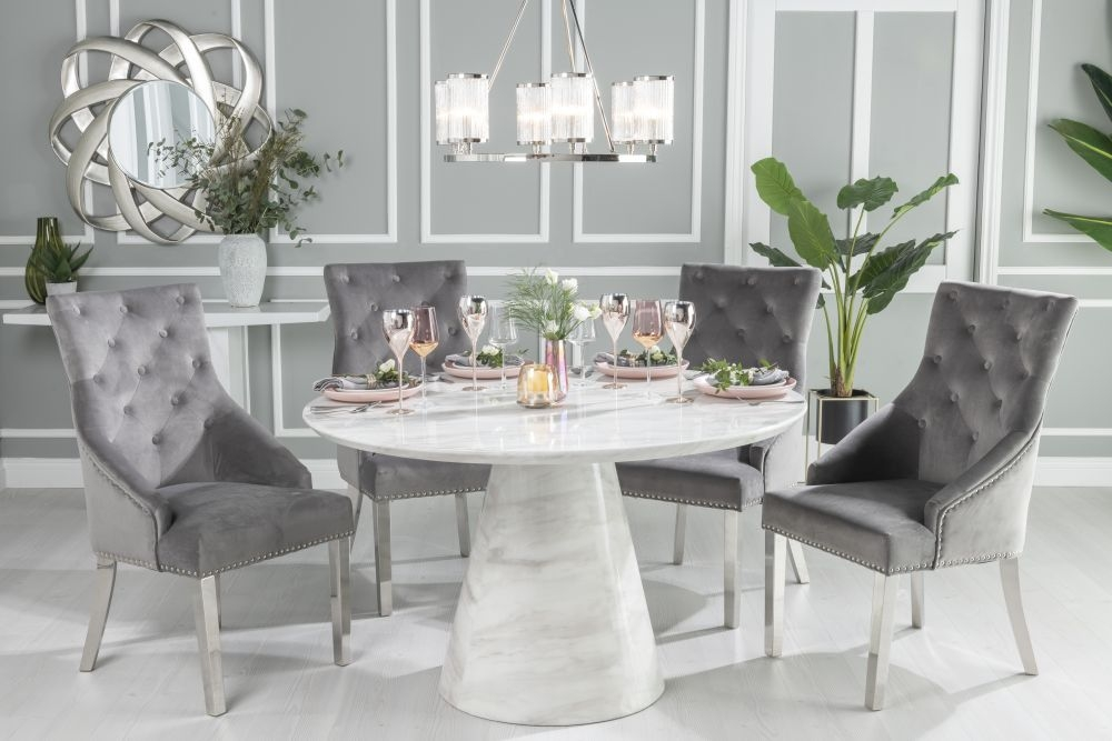 Buy Urban Deco Carrera White Marble Round Dining Table with 2 Grey Knockerback Chrome Leg Chairs and Get 2 Extra Chairs Worth £398 For FREE