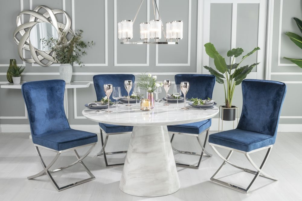 Urban Deco Carrera 130cm White Marble Dining Table and 4 Lyon Blue Chairs