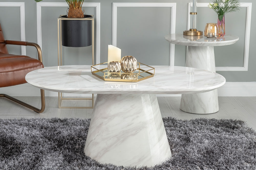 Urban Deco Carrera White Oval Marble Coffee Table