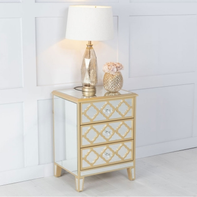 Urban Deco Casablanca Gold Trim Mirrored Bedside Cabinet