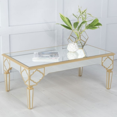Urban Deco Casablanca Gold Trim Mirrored Coffee Table