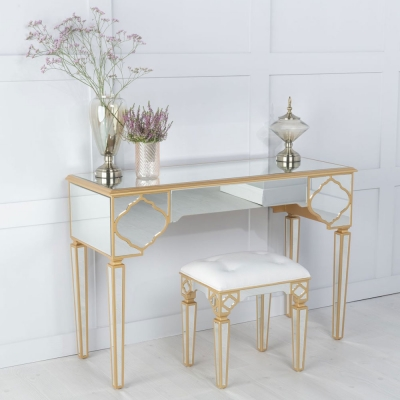 Urban Deco Casablanca Gold Trim Mirrored Dressing Cum Console Table