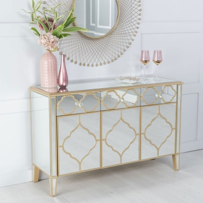 Urban Deco Casablanca Gold Trim Mirrored Sideboard
