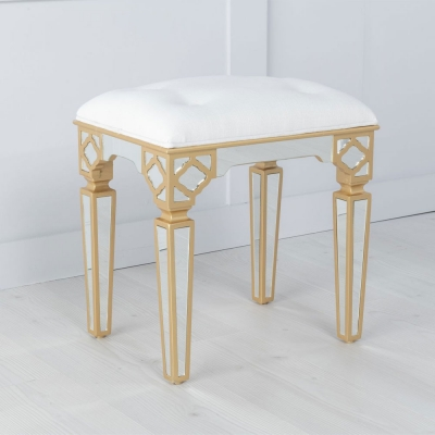 Urban Deco Casablanca Gold Trim Mirrored Stool