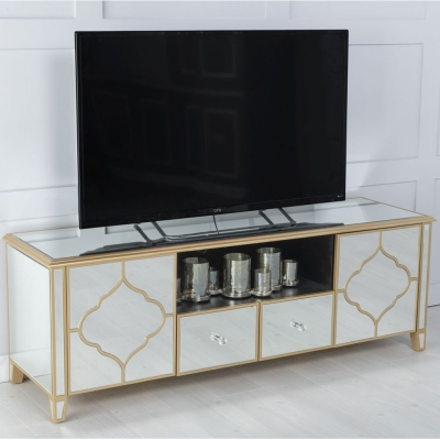 Urban Deco Casablanca Gold Trim Mirrored TV Unit