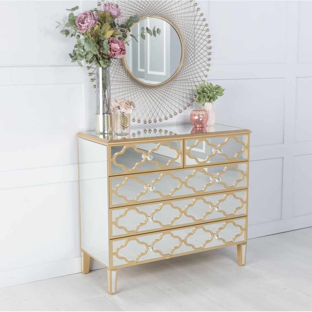 Urban Deco Casablanca Gold Trim Mirrored 4 Drawer Chest