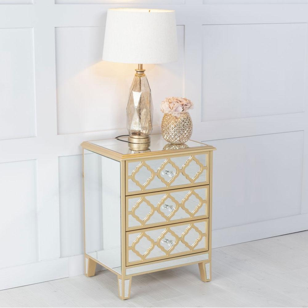 Urban Deco Casablanca Gold Trim Mirrored Bedside Cabinet