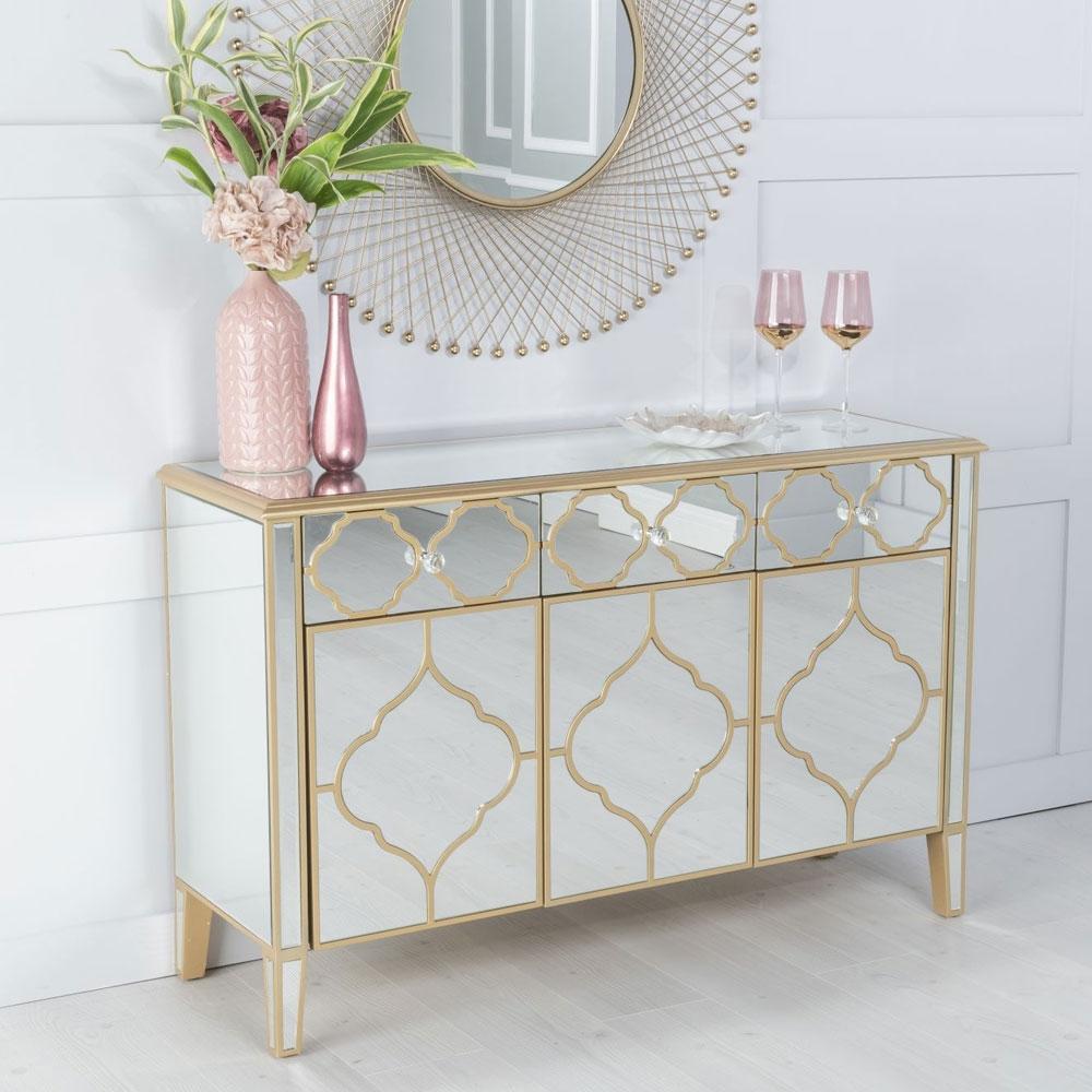 Casablanca Mirrored 3 Door Sideboard with Gold Trim