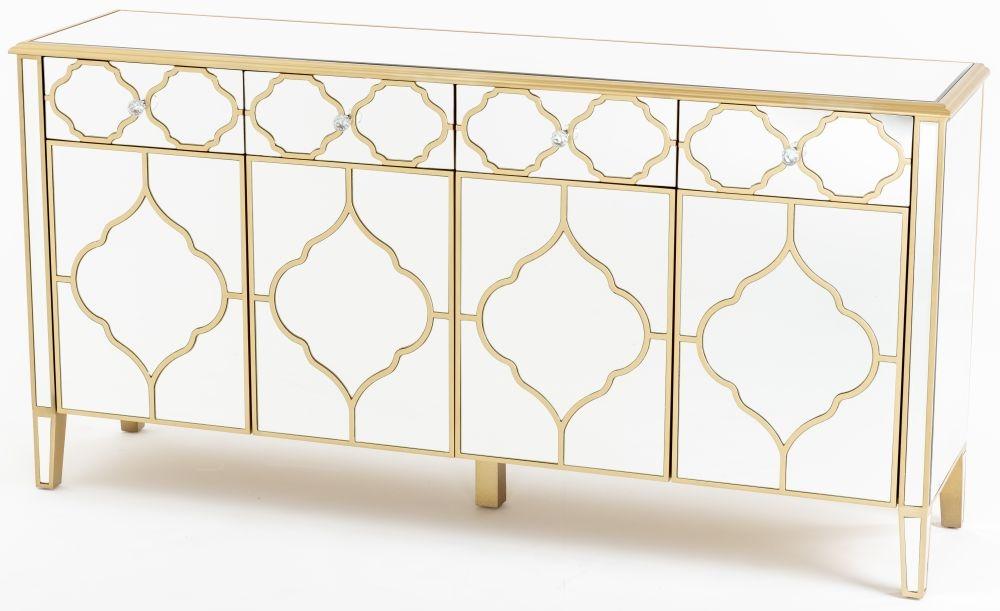 Urban Deco Casablanca Gold Trim Mirrored Large Sideboard