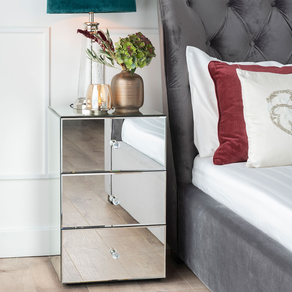 Urban Deco Chelsea Mirrored Bedside Cabinet