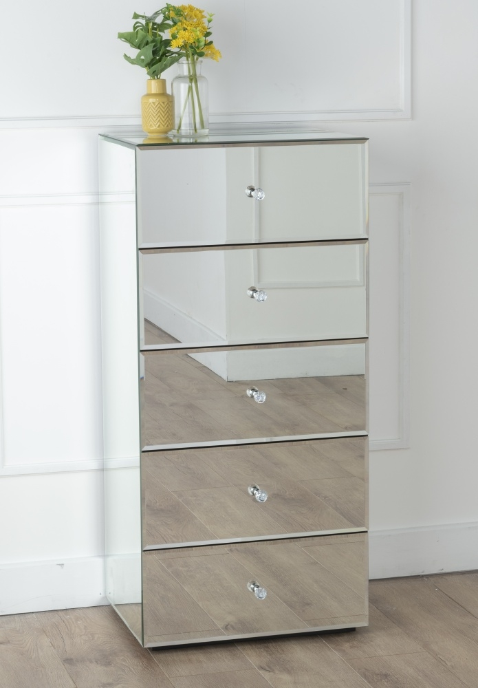 Urban Deco Chelsea Mirrored 5 Drawer Tall Chest