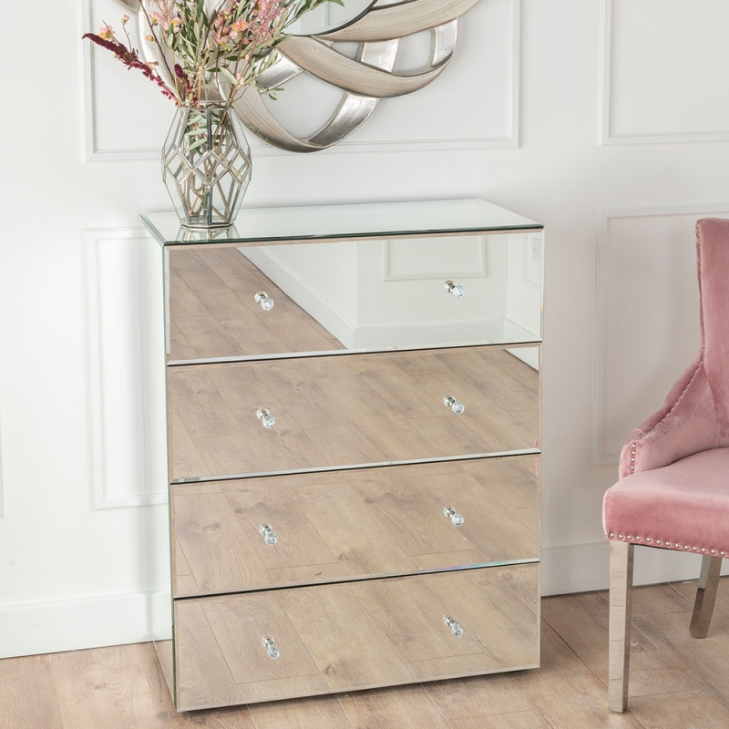 Urban Deco Chelsea Mirrored 4 Drawer Wide Chest