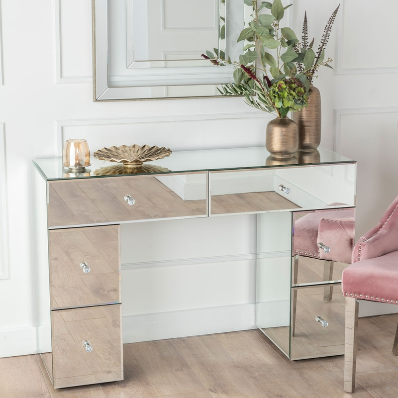 Chelsea Mirrored Kneehole Dressing Table - 6 Drawers