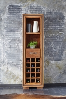 GRANDE Sheesham and Leather Trim Wine Rack with 1 Drawer