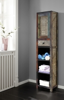 URBAN Vintage Shabby Chic 1 Door 1 Drawer Tall Bathroom Cabinet with 3 Shelves
