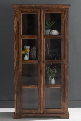 Ganga Indian Sheesham Wood 2 Door Glass Cabinet