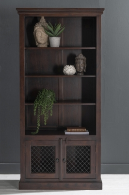 Iron Jali Indian Sheesham Wood Bookcase with Cupboard