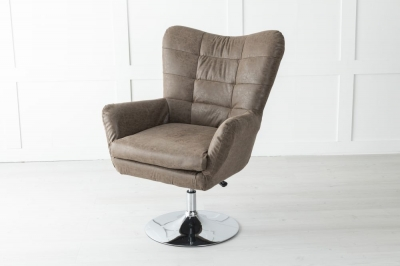 Laura Brown Faux Leather Swivel Chair