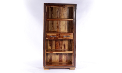 GRANDE Sheesham and Leather Trim 2 Drawer Bookcase
