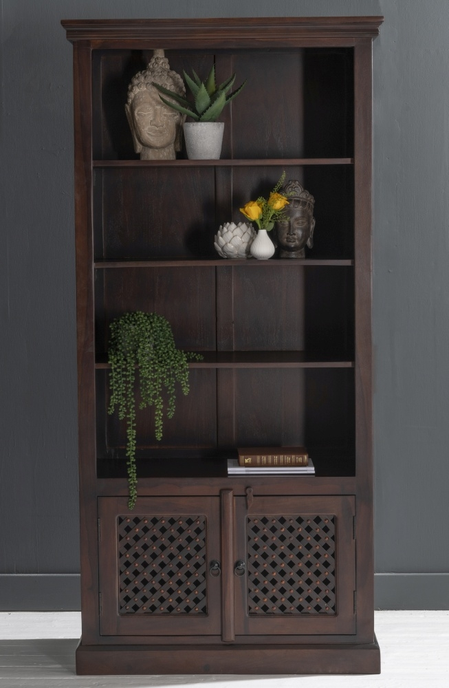 Jali Indian Sheesham Wood Bookcase with Cupboard