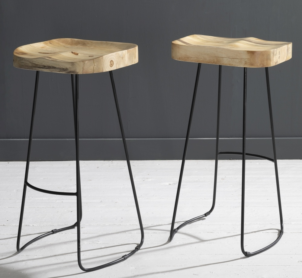 Wood and Iron Bar Stool - BARSTL