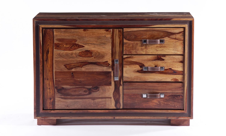 GRANDE Sheesham and Leather Trim 1 Door 3 Drawer Narrow Sideboard