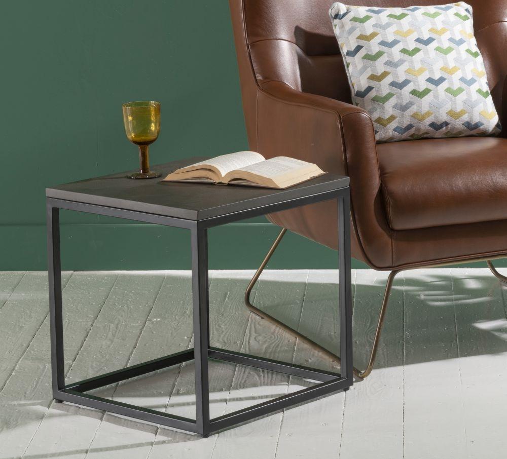 Faux Concrete Sqaure Side Table