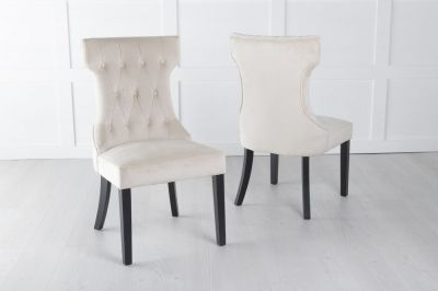 Courtney Upholstered Dining Chair / Black legs - Luxurious Champagne Velvet