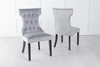 Courtney Light Grey Velvet Fabric Dining Chair