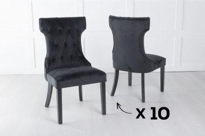Courtney Set of 10 Upholstered Dining Chair / Black legs - Luxurious Black Velvet