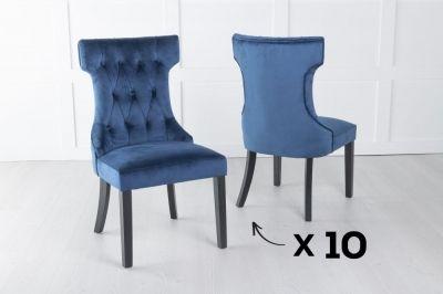 Courtney Set of 10 Upholstered Dining Chair / Black legs - Luxurious Blue Velvet
