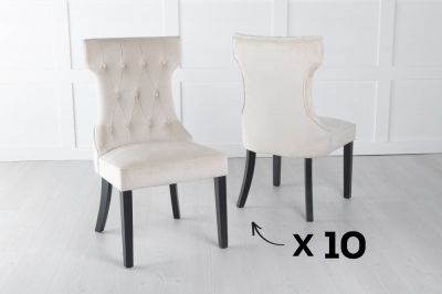 Courtney Set of 10 Upholstered Dining Chair / Black legs - Luxurious Champagne Velvet