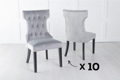 Courtney Set of 10 Upholstered Dining Chair / Black legs - Luxurious Light Grey Velvet