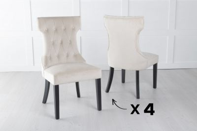 Set of 4 Courtney Champagne Velvet Fabric Dining Chair