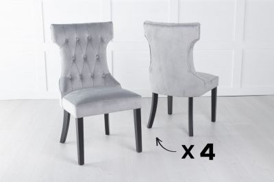 Set of 4 Courtney Light Grey Velvet Fabric Dining Chair