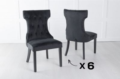 Courtney Set of 6 Upholstered Dining Chair / Black legs - Luxurious Black Velvet
