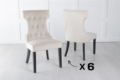 Set of 6 Courtney Champagne Velvet Fabric Dining Chair