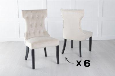 Courtney Set of 6 Upholstered Dining Chair / Black legs - Luxurious Champagne Velvet